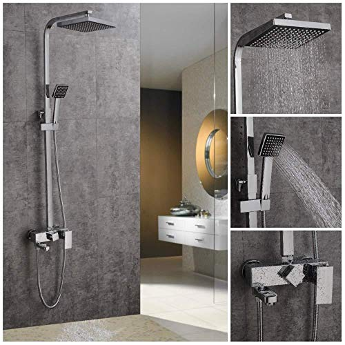 UYKIKUI Shower Set, Multi-Functional Thermostatic Shower System Modern Chrome Shower Mixer, Anti-Scald Faucet Shower, Hand-Held Shower Head Shower ()