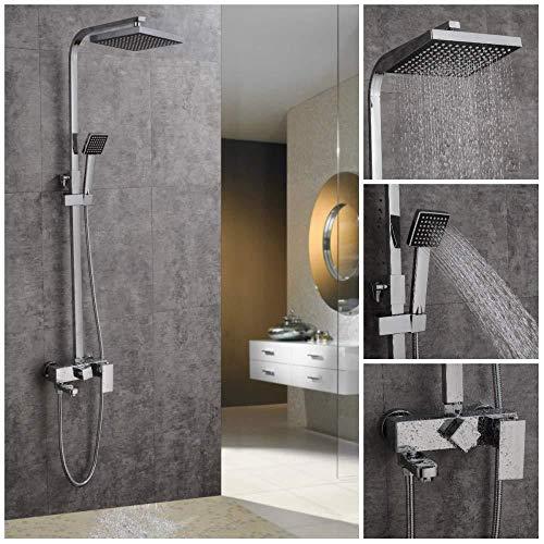- UYKIKUI Shower Set, Multi-Functional Thermostatic Shower System Modern Chrome Shower Mixer, Anti-Scald Faucet Shower, Hand-Held Shower Head Shower