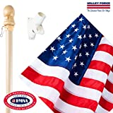 Valley Forge, American Flag Kit, Nylon PERMA-NYL, 2.5' x 4', 100% Made in USA, Sewn Stripes, Embroirdered Stars, 5-Foot Wood Pole and Bracket