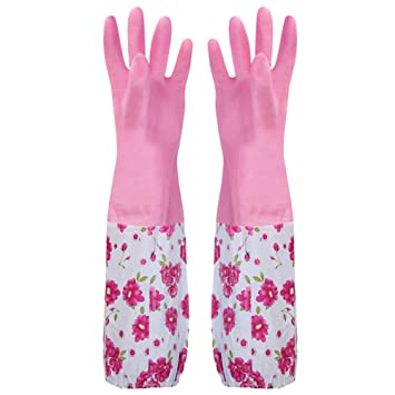 Waterproof Household Glove, Non-Slip ?Long Sleeves Warm ?Cleaning Rubber Glove ??with Elastic Ribbon ?Dishwashing Glove? for Home Kitchen Cleaning?(Pink)