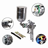 Pneumatic Spray Gun with 600cc Cup Auto Professional Car Paint Gravity Feed Gauge Flake Nozzle 1.0mm