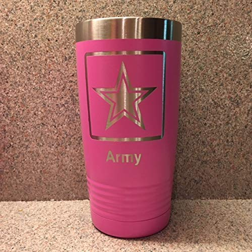 Veterans Gift 20 oz Female Service Members Sip-Style Lid Gift for Her Pink for all the Wives and Women Who Have Served Army Stainless Steel Insulated Tumbler with Clear