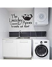 Wasruimte muurstickers grappig citaat woorden interieur wasmand deuren en ramen vinyl stickers 110x186 CM