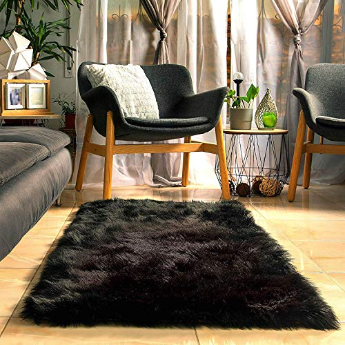Fluffy Faux Black Fur Rug with Soft Thick Padding and Anti Slip Backing (5 x 2.3 feet), Plush Fuzzy Bedside Area Black Rugs for Bedroom Rug, Furry Black Area shag Rug Black Carpet by shuna creations (Fur Small Rug Faux)
