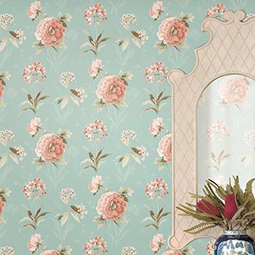 Blooming Wall MH1402 Non Woven Vintage Flower WallPaper Wallpaper Mural For Livingroom Bedroom Kitchen Bathroom 208 In328 Ft57 SqftRed Green By