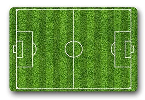 Custom Green Football or Soccer Fields Bath Mats and Rugs, Polyester Fabric Non Slip Rubber Backing for Bathroom Kitchen , 30L x 19W Inch (Soccer Field Rug)