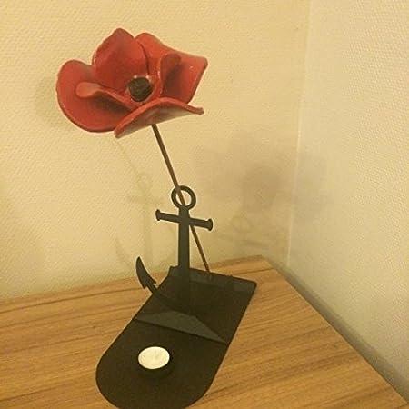 Made O Metal Seas Of Red Ship Anchor Poppy Memorial Tea Light