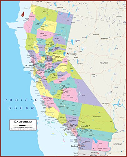 - California State Wall Map Giant 60x49 Inches with Large, Easy to Read Text - Classroom Style Map with Durable Lamination - Safe for Use with Wet/Dry Erase Marker - Brass Eyelets for Enhanced Durabilit