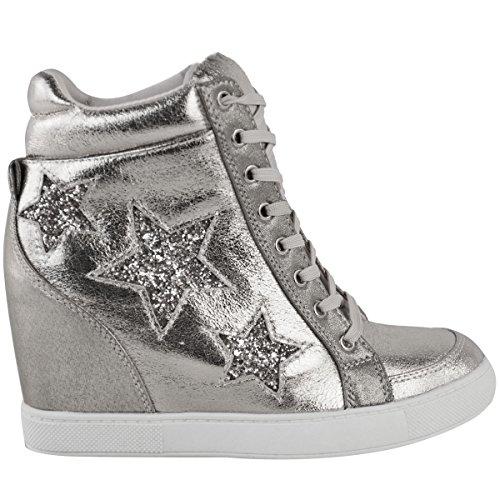 Trainer Lace Wedge Größe Durstige Metallic Spitzenturnschuhe Versteckte Silber Glitter Hohe Mode Schuhe Up Star Damen Damen Glitter XIH0xqA