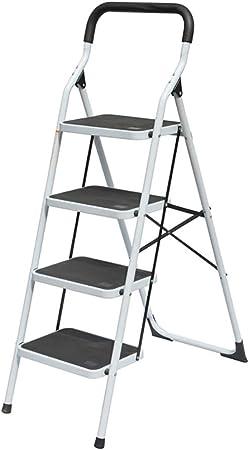 Gplveoq Escalera Plegable de 4 peldaños, práctica empuñadura Antideslizante Escalera Robusta, Pedal Ancho 330lbs Taburete de Acero portátil con escalón, Banco: Amazon.es: Hogar