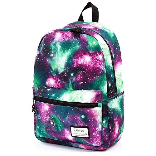 Obvie School Backpack Cool Luminous Schoolbag Unisex Backpack for Teens (Laminate Fabric Green) -