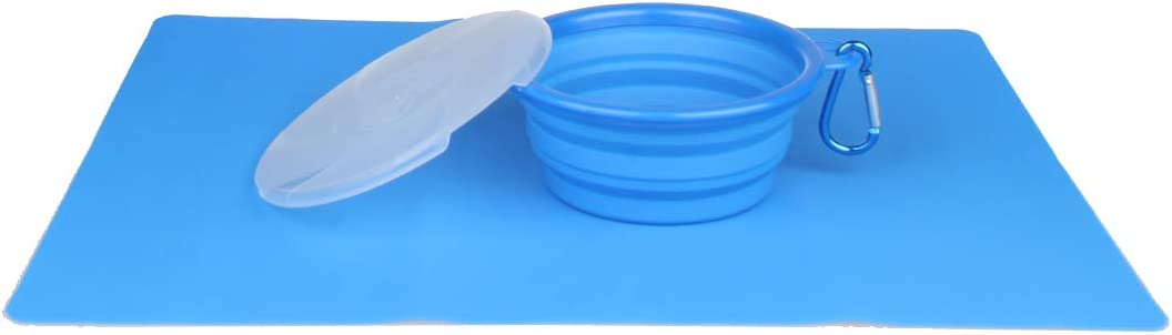 Dog Silicone Waterproof Placemat Mat BundleMall Ollapsible Pet Dog Bowl with Lid,Cup Dish for Pet Dog Water Feeding Portable Travel Bowl Non-Skid Spill Proof Pet Feeding Mat