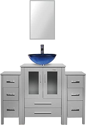 48 inch Grey Bathroom Vanity Vessel Round Glass Sink Combo 2 Small Side Cabinets Removable MDF board Free Stand Vanity 1.5 GPM ORB Faucet Bathroom Bowl