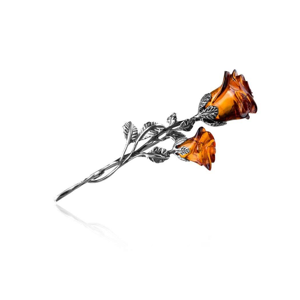 Amber Sterling Silver Rose Pin Brooch