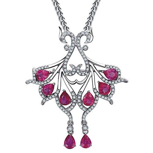 Amazing Design Fashion 14k White Gold Natural Pink Tourmaline Gemstone Diamond Wedding Engagement Party Necklace Pendant Set by Kardy