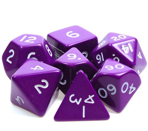 Jumbo DICE, 7 Different Polyhedral Styles in PURPLE with white numbers