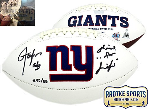 Lawrence Taylor Autographed/Signed New York Giants Embroidered Logo Football With