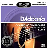 D'Addario EXP13 with NY Steel 80/20 Bronze Acoustic Guitar Strings,Coated, Custom Light, 11-52