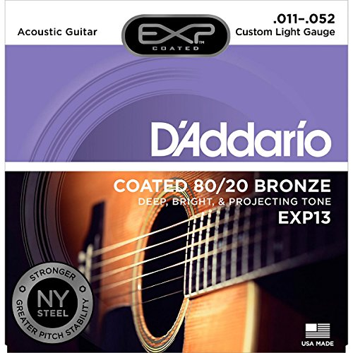 Daddario Custom Light - D'Addario EXP13 with NY Steel 80/20 Bronze Acoustic Guitar Strings,Coated, Custom Light, 11-52