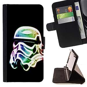 BullDog Case - FOR/Sony Xperia Z1 L39 / - / Neon Glow Trooper Mask /- Monedero de cuero de la PU Llevar cubierta de la caja con el ID Credit Card Slots Flip funda de cuer