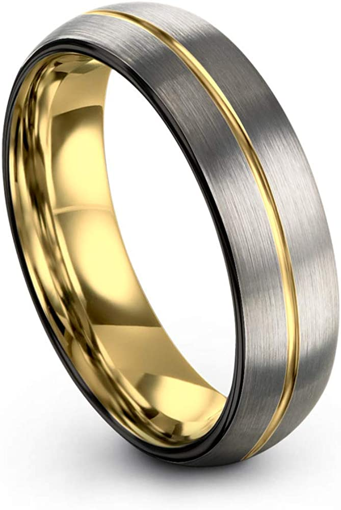 Midnight Rose Collection Tungsten Wedding Band Ring 6mm for Men Women 18k Rose Yellow Gold Plated Dome Off Set Line Black Grey Brushed Polished