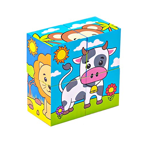 - Bimi Boo Wooden Animal Block Puzzle 6 in 1 Big Cube Dog Cat Cow Monkey Elephant Lion Patterns Blocks for Toddlers 2 3 4 Years Old (4 pcs)