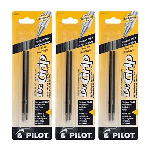 Pilot Better/EasyTouch/Dr Grip Retractable Ballpoint Pen Refills, 1.0mm, Medium Point, Black Ink, Pack of 6