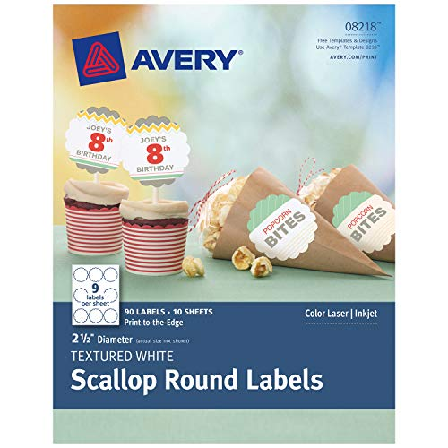 (Avery Scallop 2.5 Inch Round Labels for Laser & Inkjet Printers, 90 Textured Matte White Labels (8218))