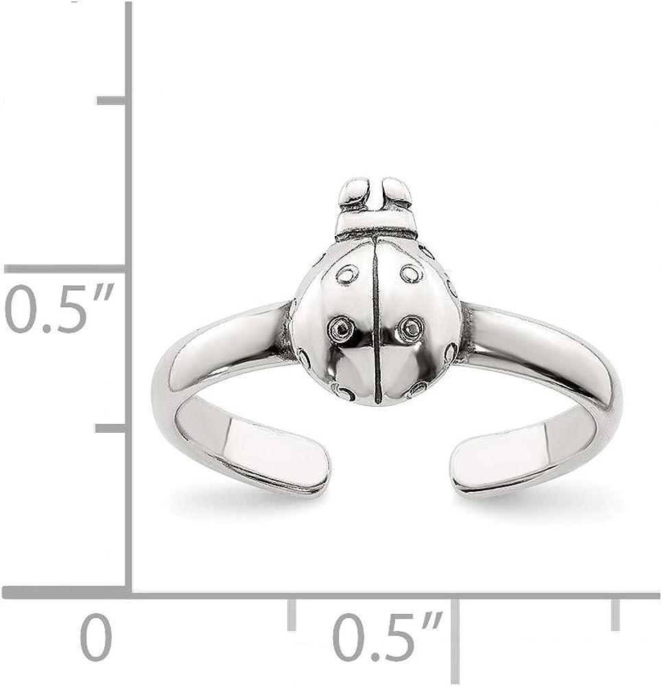 Sterling Silver Antiqued Ladybug Toe Ring