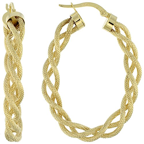 Oval Twisted Rope - 10K Yellow Gold Oval Hoop Earrings Twisted Rope Tubing Textured Finish Italy 1 1/2 inch