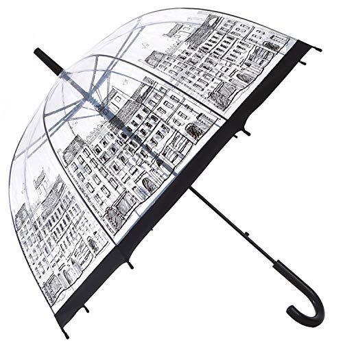 HAOCOO Street Clear Umbrella,Bubble Transparent Fashion Dome Auto Open Umbrella Windproof for Outdoor Weddings or Events (Street) ()