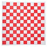 Forro para canastas de comida, diseño de cuadros (30,5x 30,5cm, color blanco y rojo, 100unidades)