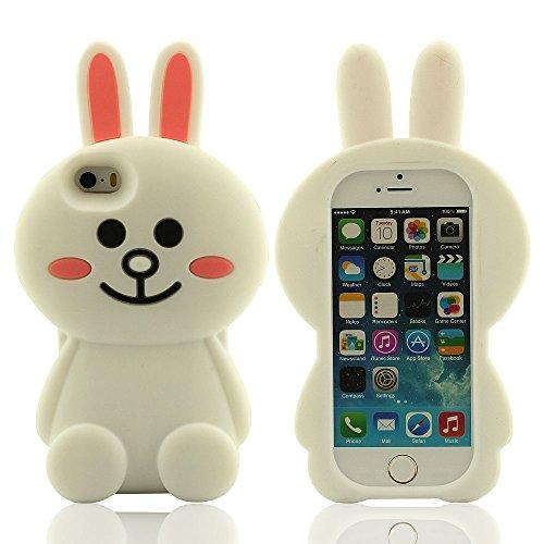 Souple Silicone Coque Housse étui de Protection pour iPhone 5 iPhone 5S iPhone 5C iPhone 5G, Mignon 3D Blanc Lapin Forme, Belle Apparence Lapin Jouet Conception