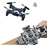 Joso RC Drone,Protable Mini Quadcopter Watch Style Remote Control Fold Drone with 4 Axis FPV Camera 0.3MP Aerial Photography/Altitude Hold/Auto Return and Real-time transmission
