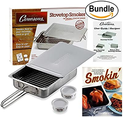 Cameron's Stovetop Smoker - Stainless Steel Indoor/Outdoor Smoker - Works On Any Heat Source, Recipe Guide, Wood Chips - Plus Smokin': Recipes for Your Stovetop Smoker Book (Bundle) by Smokin' Smoker Book Bundle