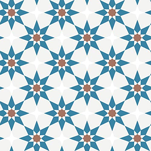 Pattern Perfect SO90571 Soleil Removable Peel and Stick Wallpaper, Terracotta and Blue