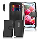 32nd® Book wallet PU leather case cover for Motorola Moto G 3 (3rd Gen / 2015 edition) + screen protector, cleaning cloth and touch stylus - Black
