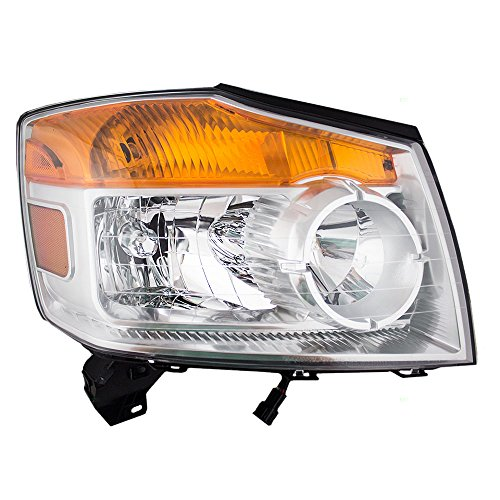 Passengers Halogen Combination Headlight Headlamp Replacement for 08-15 Nissan Armada SUV ()