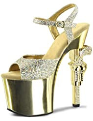 Summitfashions Gold Glitter Heels with Rhinestone Encrusted Revolver Shaped 7 Inch Heels