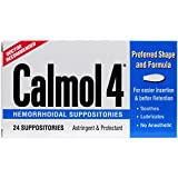 Calmol 4 Hemorrhoidal Suppositories, 24 Count, Doctor Recommended for Relief of Burning and Irritation Caused by Anorectal Disorders
