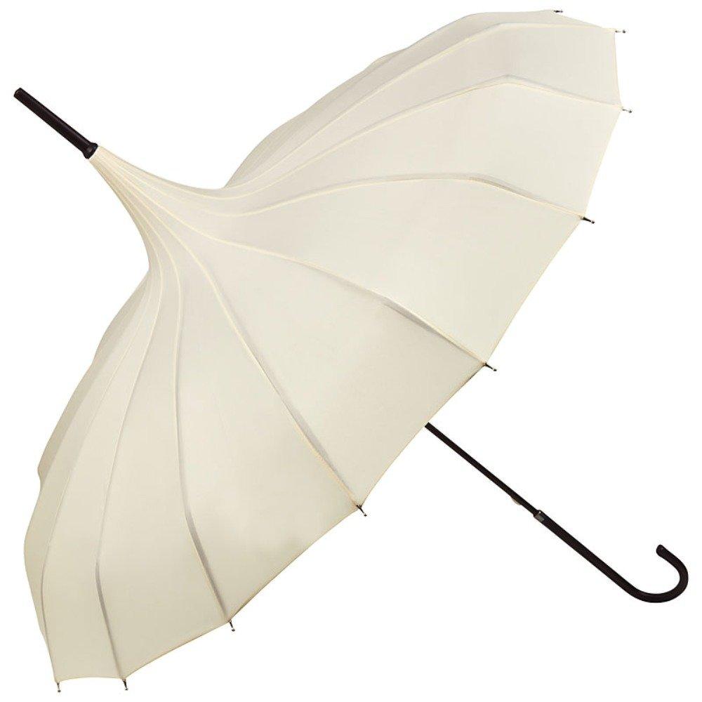 VON LILIENFELD® Regenschirm Damen Sonnenschirm Hochzeitsschirm Pagode Fabienne, creme/ivory / schwarz 5322