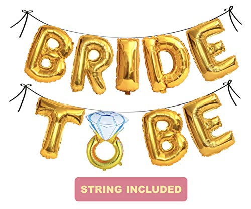 Bachelorette Party Decorations and Bridal Shower Decorations Balloons - Bride to Be Party Supplies - Foil Ring Balloon, Banner, Ribbon (Gold)