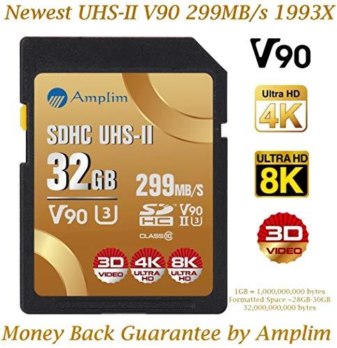 - 32GB V90 UHS-II SDHC SD Card - Amplim Blazing Fast 299MB/S (1993X) U3 UHSII C10 Extreme Pro 32 GB / 32G SD HC Memory Card. Professional 4K 8K Video Camera Camcorder TF Flash Storage Card - New 2019