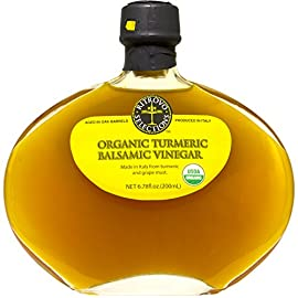 Ritrovo Selections Organic Turmeric Balsamic Vinegar 1 USDA Certified Organic. A balanced flavor of sweet and mild bitterness with a lovely aromatic quality. The infusion of turmeric juice rounds out the acidit