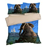 Fabulous Elephant Sit in the Sea Boat Cotton Microfiber 3pc 80''x90'' Bedding Quilt Duvet Cover Sets 2 Pillow Cases Full Size