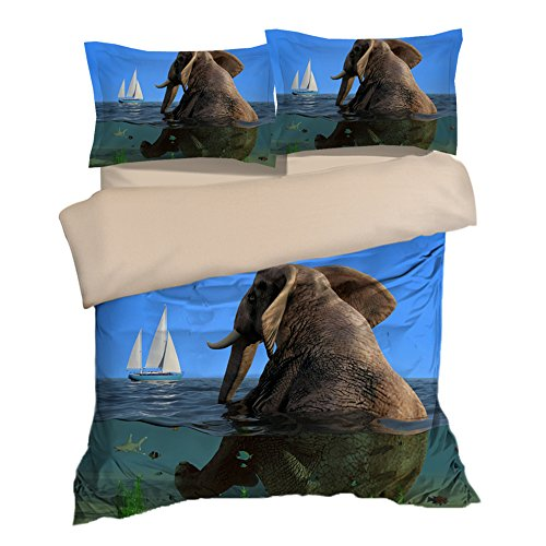 Fabulous Elephant Sit in the Sea Boat Cotton Microfiber 3pc 80''x90'' Bedding Quilt Duvet Cover Sets 2 Pillow Cases Full Size by DIY Duvetcover