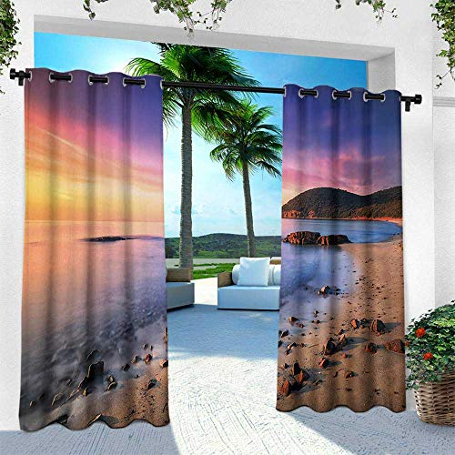 (Beach, for Patio Light Block Heat Out Water Proof Drape,Famous Mediterranean Sun Rise on The Beach with Pebbles Tourism Serene View Print, W96 x L84 Inch, Multicolor)