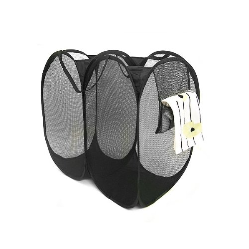 UPC 843483007964, Wrapables Mesh Pop-Up Double Hamper, 23 by 24-Inch, Black