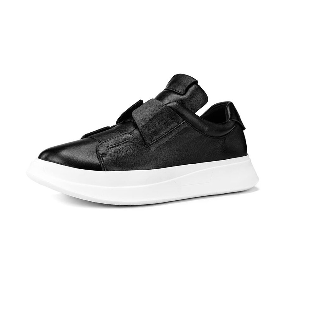 Zapatos YIXINY Deporte Juventud Calzado De Hombre Ocio Suelas Gruesas PU Salvaje Transpirable Estudiante Blanco/Negro Aire Libre y Deporte (Color : Negro, Tamaño : EU42/UK8.5/CN43) EU42/UK8.5/CN43|Negro