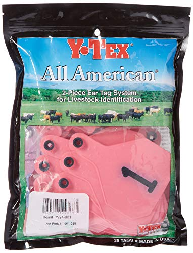 - Y-Tex 4 Star Large Cattle Ear Tags Pink Numbered 1-25
